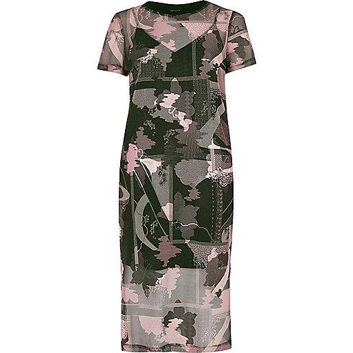 Pink floral print mesh midi dress