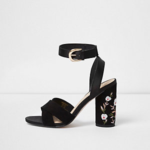 Black floral embroidered block heel sandals