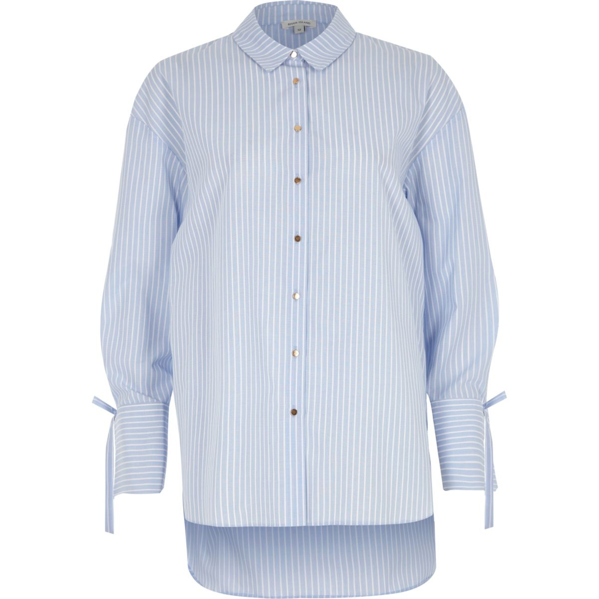 Blue stripe tie cuff oversized shirt