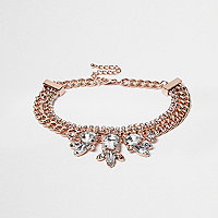 Rose gold rhinestone chain choker