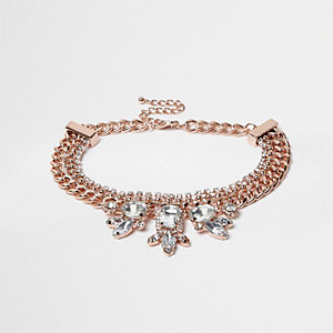 Rose gold rhinestone chain choker