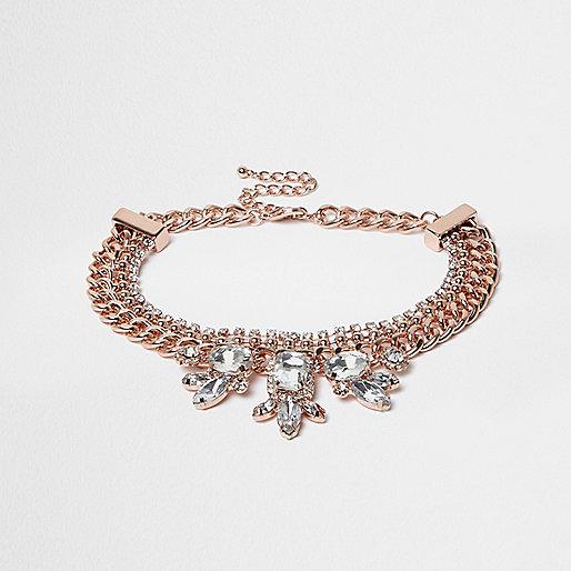 Rose gold diamante chain choker