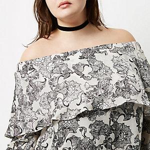 Plus beige floral print frill bardot top