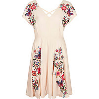 Light pink floral embroidered dress
