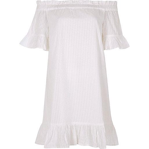 White bardot frill swing dress