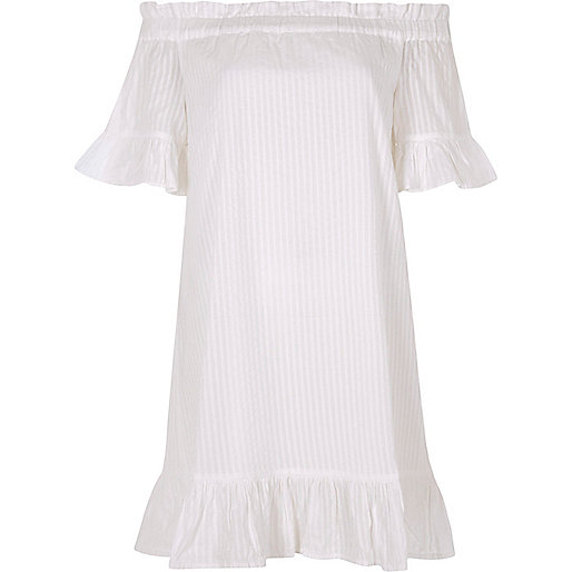 White bardot frill swing dress