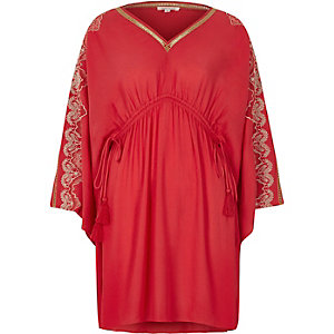 Red embroidered kaftan dress