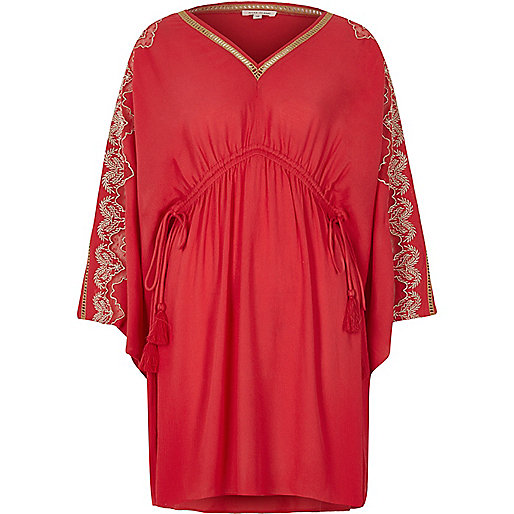 Red embroidered caftan dress