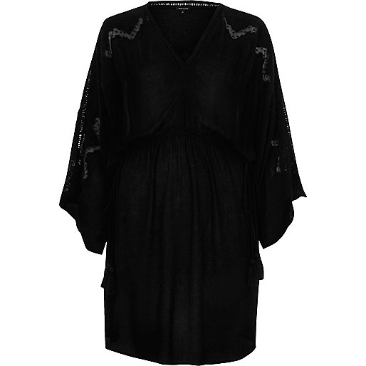 Black embroidered wide sleeve waisted dress