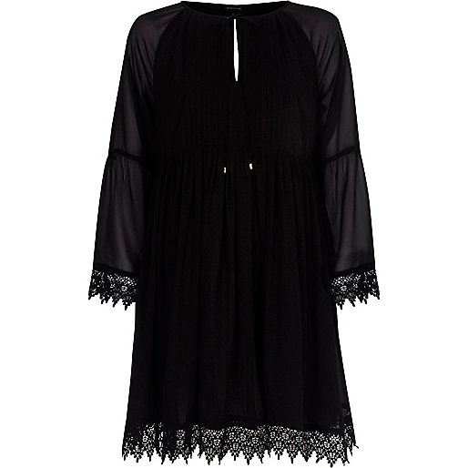 Black kimono sleeve smock dress