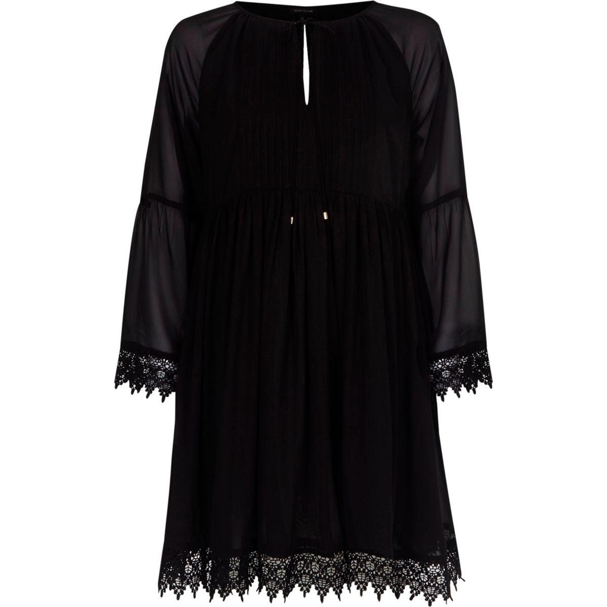 Black kimono sleeve smock dress