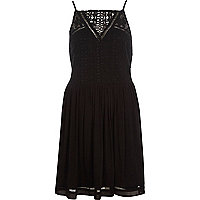 Black crochet front cami slip dress