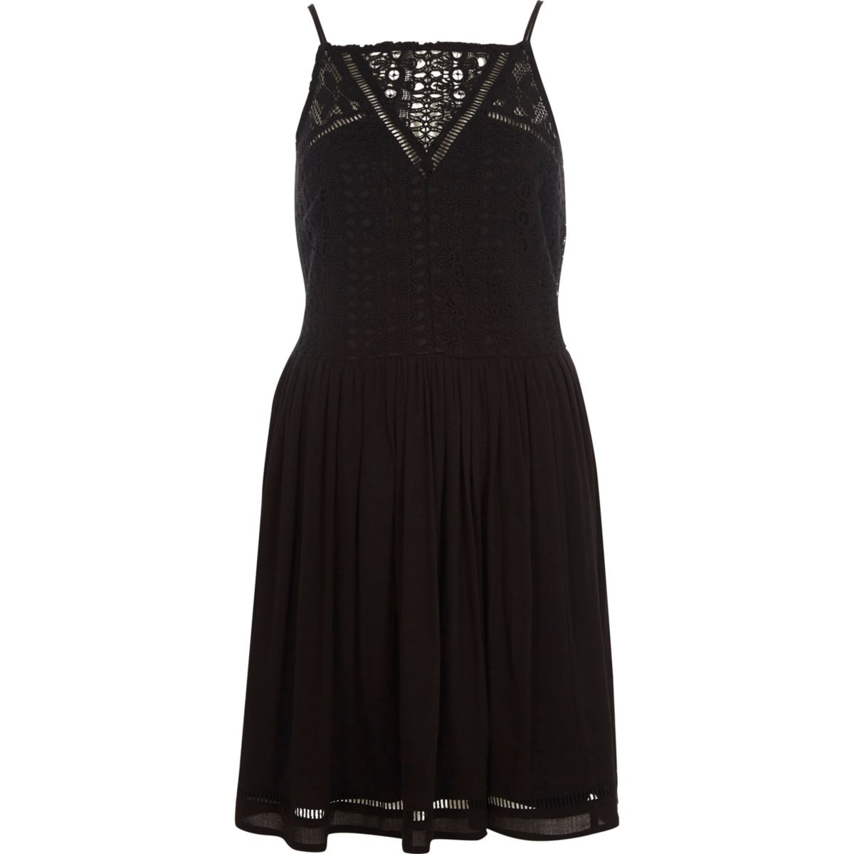 Black crochet front cami slip dress