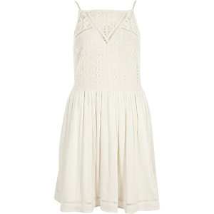 Cream crochet front cami slip dress
