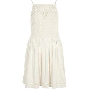 Cream crochet front cami slip dress