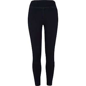 Dark blue wash denim leggings