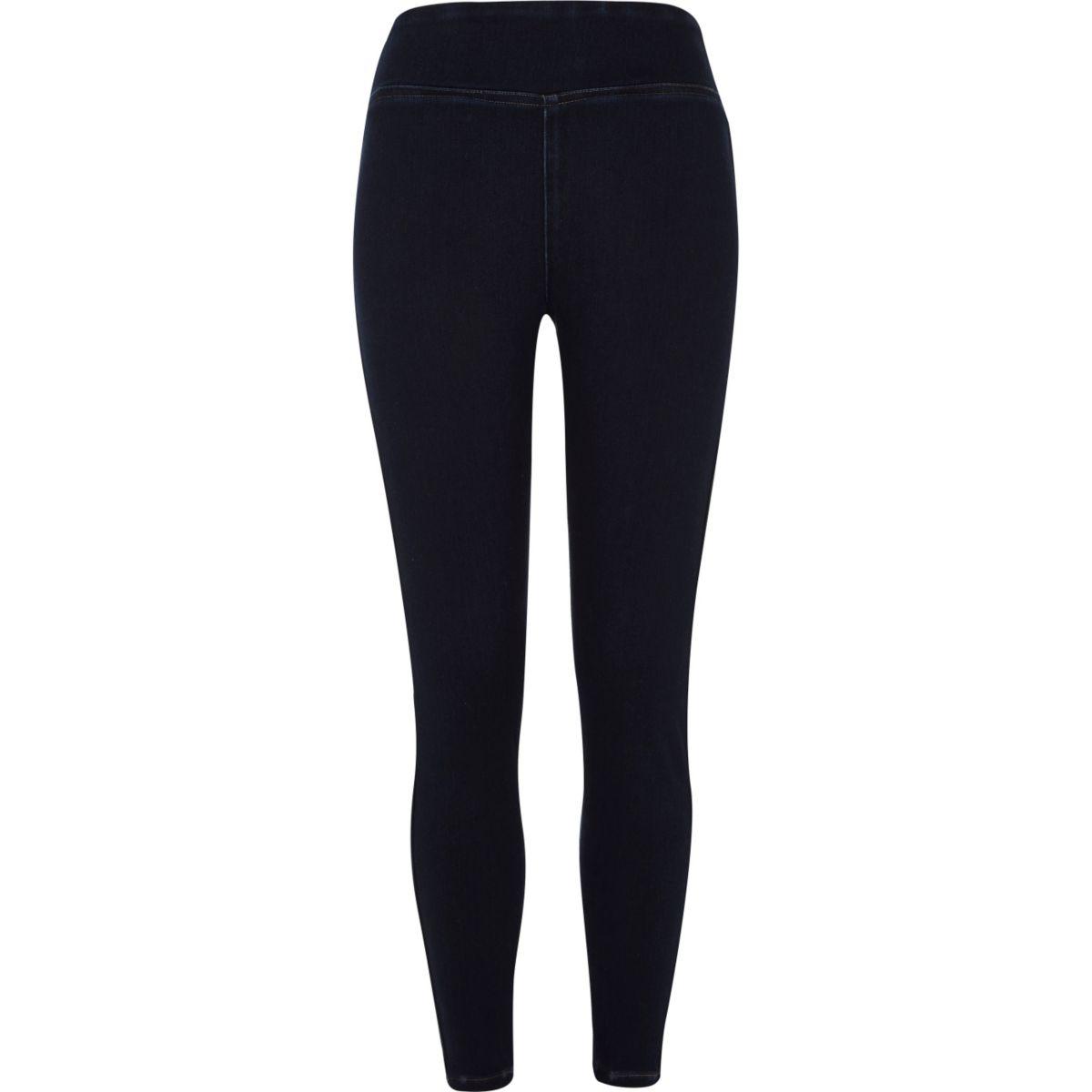 Dark blue wash denim leggings