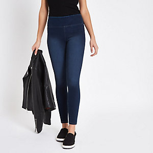 Dark blue faded denim leggings