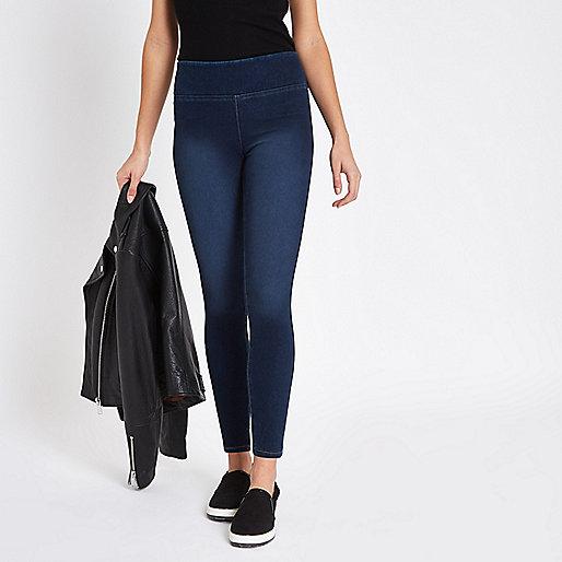 Dark blue faded denim leggings