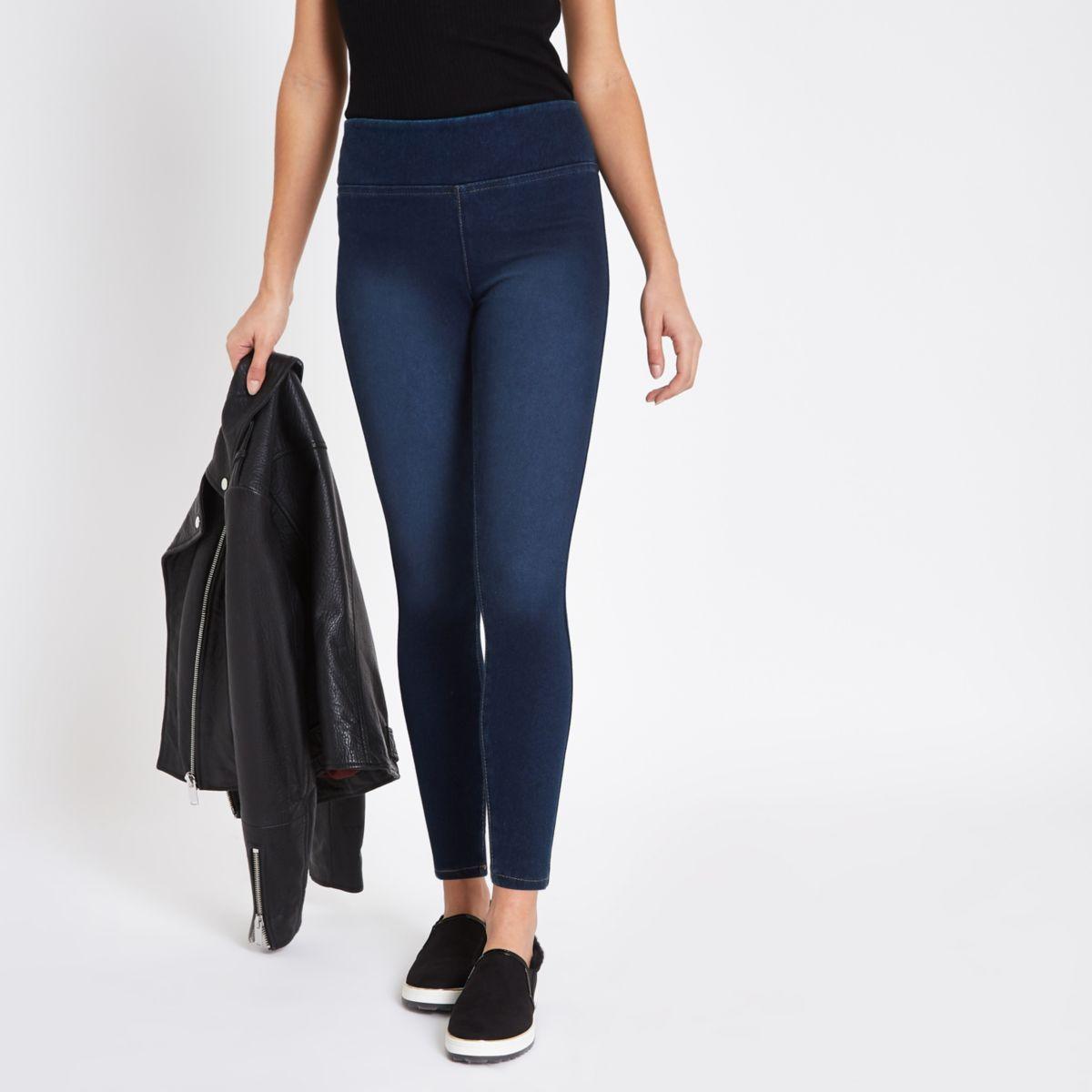 Donkerblauwe denim legging met kleurverloop