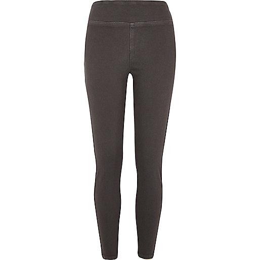 Grey wash denim leggings