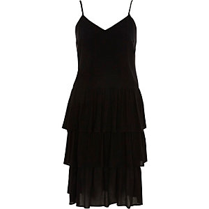 Black tiered frill midi slip dress
