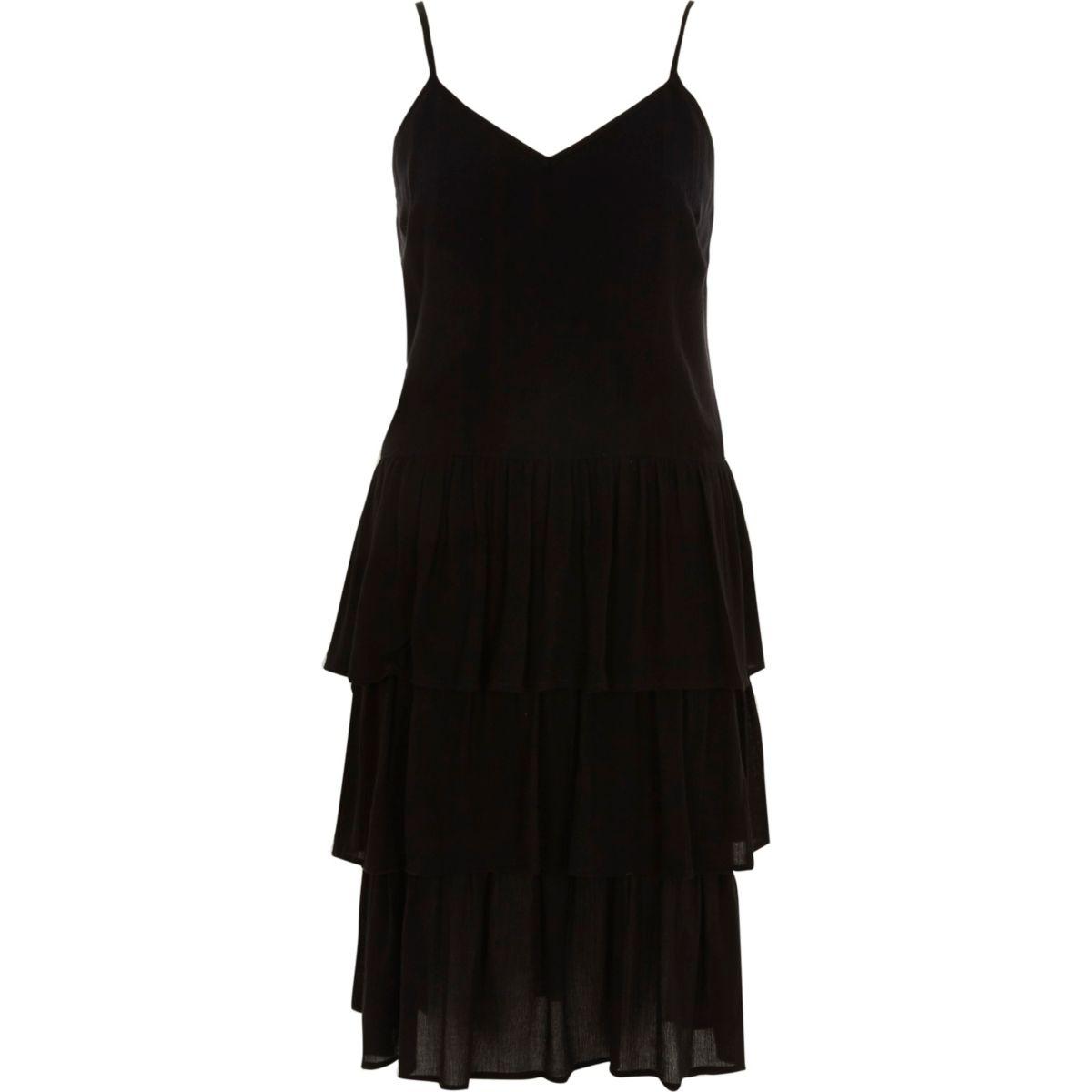 Black tiered frill midi slip dress