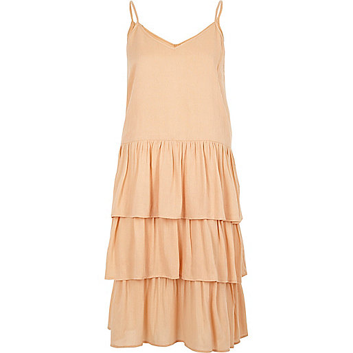Light beige tiered midi slip dress