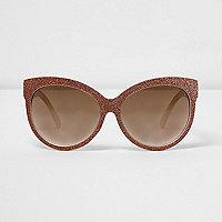 Gold glitter oversized sunglasses