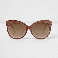 Gold glitter oversized sunglasses