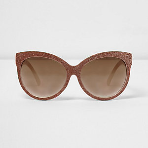 Goldene, glitzernde Oversized-Sonnenbrille