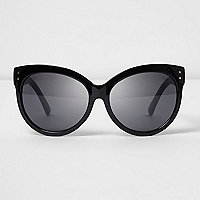Zwarte oversized zonnebril met glitterpootjes