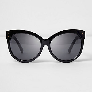 Black glitter arm oversized sunglasses