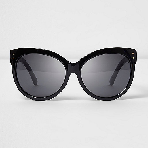 Black glitter arm oversized sunglasses