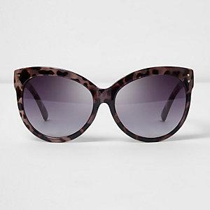 Lunettes de soleil oversize écaille de tortue violettes
