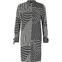 Black stripe block print shirt dress