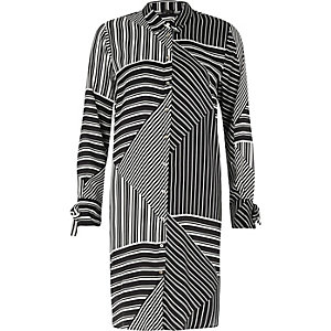 Black stripe block print shirt dress