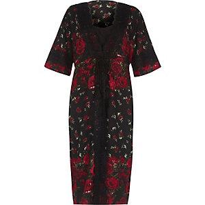 Schwarzes, mehrlagiges Kimono-Kleid mit Rosenmuster