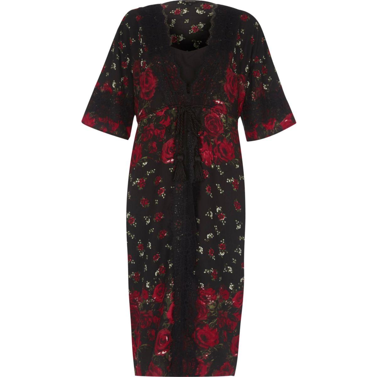 Black floral rose print layered kimono dress
