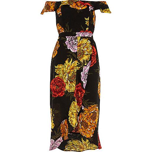 Black floral print bardot wrap midi dress