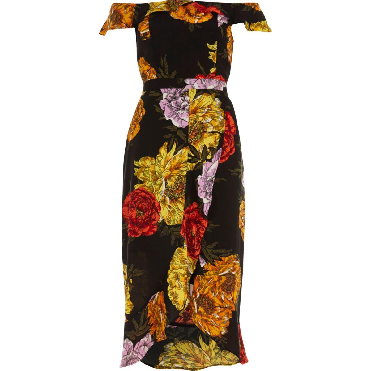 Zwarte midi-overslagjurk in bardotstijl met bloemenprint