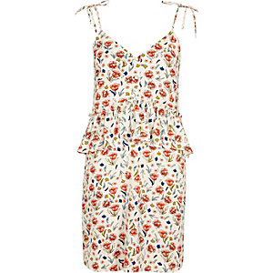 Cream floral print frill waist slip dress