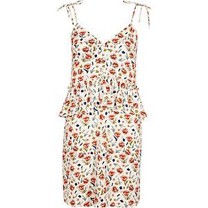 Cream floral print frill waist slip dress