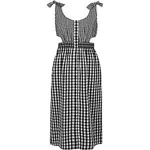 Black gingham print button through midi dress