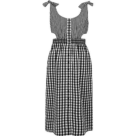 Zwarte midi-jurk met gingham-ruit en knoopjes