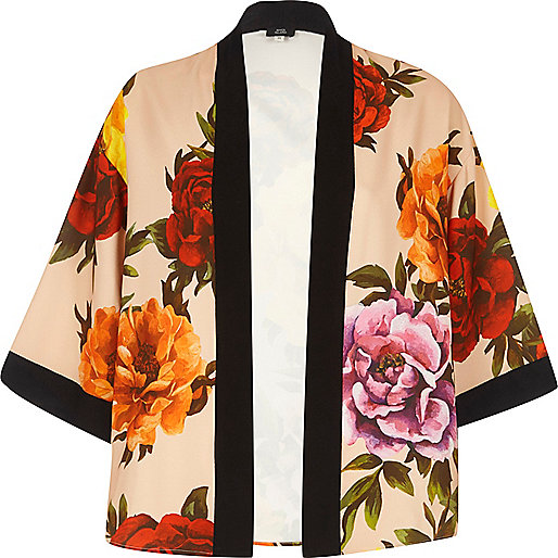 Pink floral cropped kimono