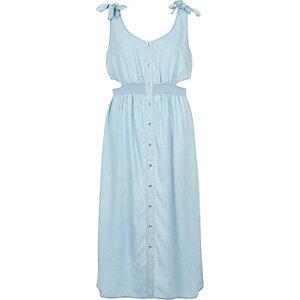 Lichtblauwe denim midi-jurk met uitsnedes