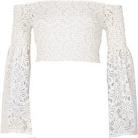 White lace shirred flared sleeve crop top