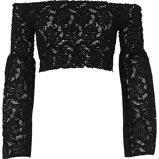 Black lace flare sleeve bardot crop top