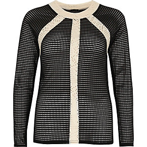 Black and cream mesh panelled top